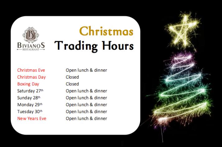 Christmas trading hours 2014